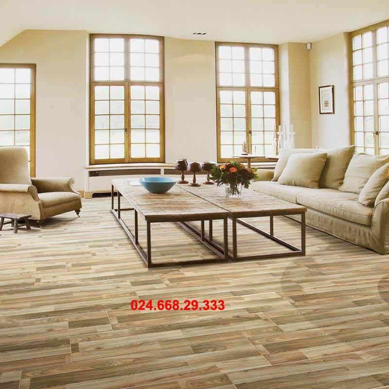 gạch giả gỗ 20x100 mã 2021 lát tổng thể phòng khách phòng bếp cả sàn nhà