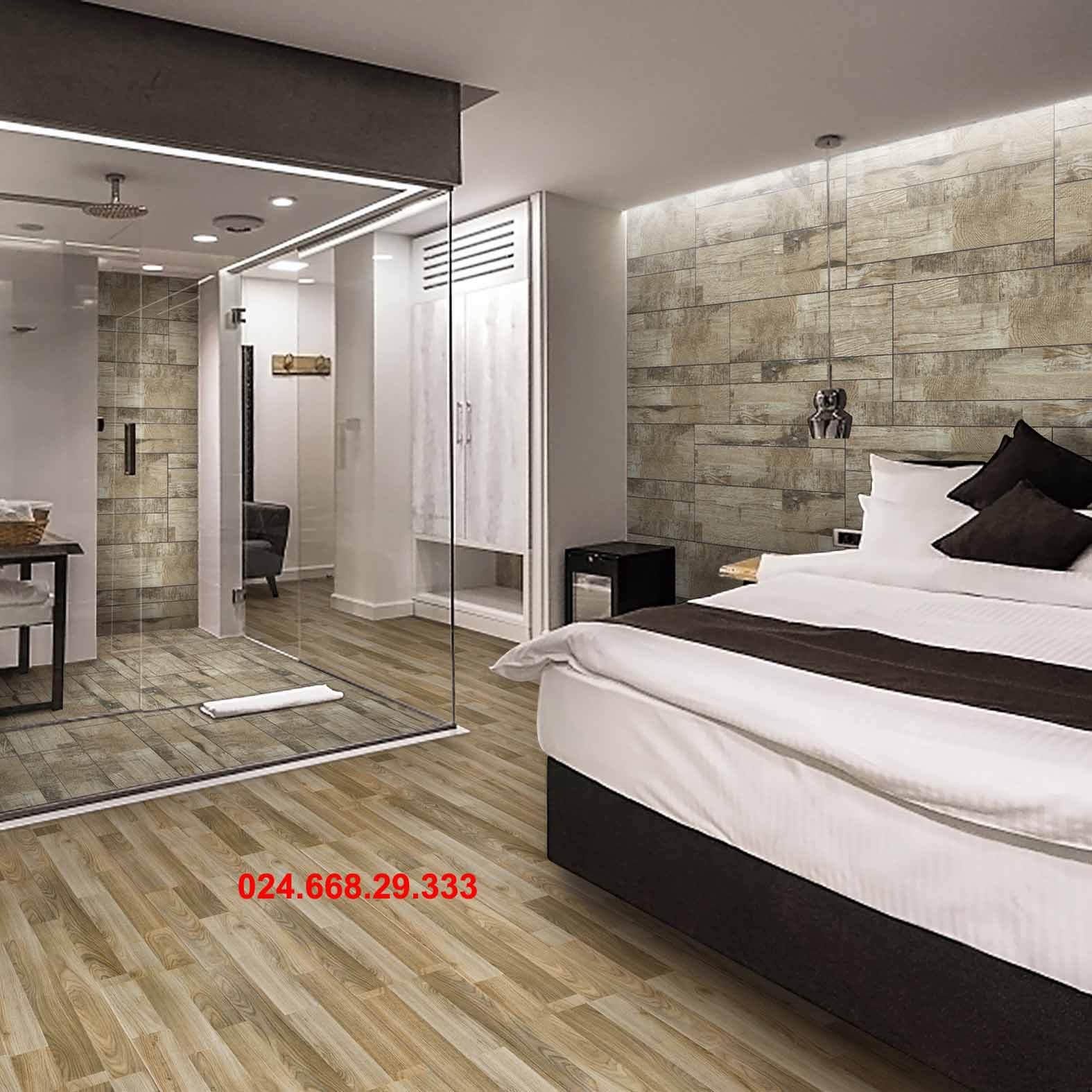 gạch giả gỗ 20x100 mã 2021lát phòng ngủ kết hợp phòng tắm