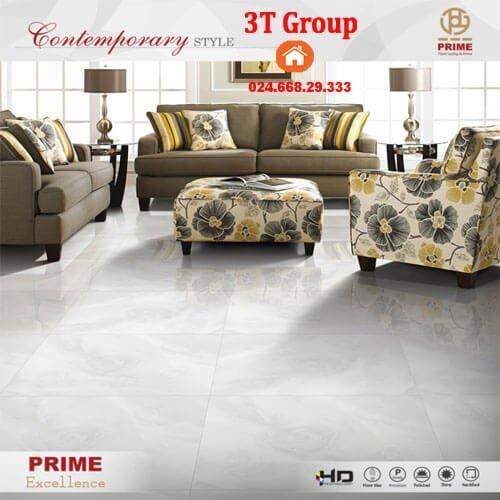 Gạch 60x60 Prime 12868 in hoa hồng 3D phối cảnh phòng khách