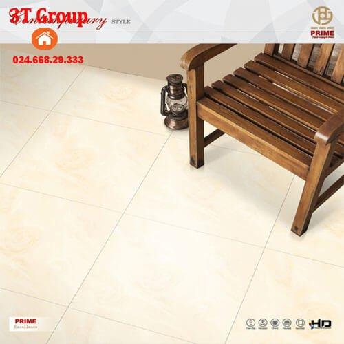 gạch 60x60 Prime 23970 màu vàng nhẹ in hình hoa hồng 3D lát phòng khách