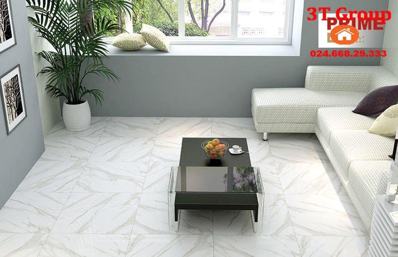 gạch 60x60 prime 9676 trắng vân khói thiết kế lát phòng khách