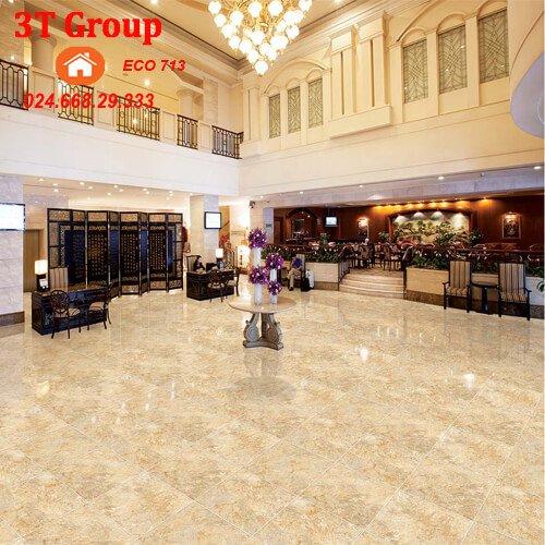 Bản phối cảnh gạch lát nền 60×60 viglacera granite ECO 602 lát khách sạn