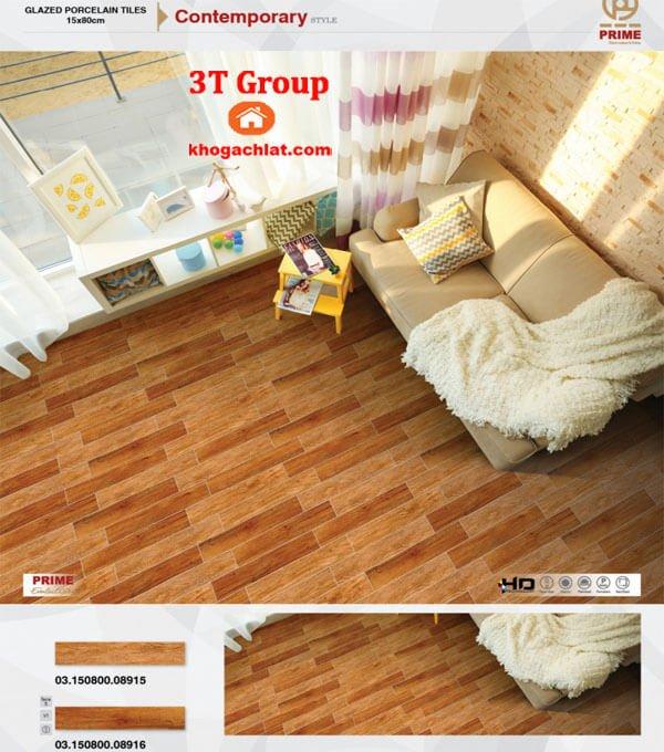 gạch giả gỗ 15x80 Prime mã 8916 bản phối cảnh lát phòng ngủ