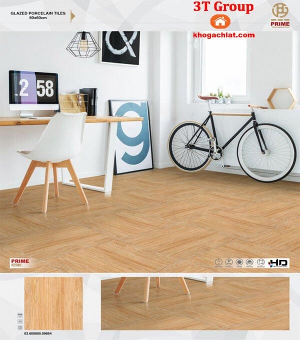 gạch giả gỗ prime 60x60 men khô mã 9854 bản phối lát phòng khách