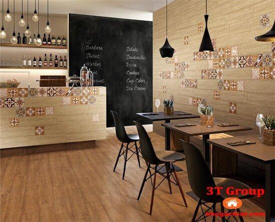 gạch giả gỗ 15x80 8803 phối cảnh quầy bar rượu