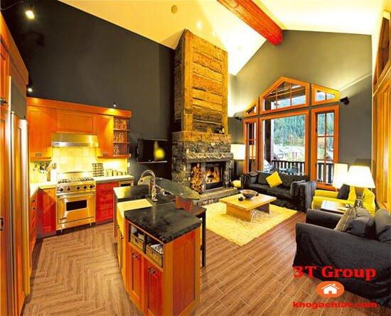 gạch giả gỗ 15x80 8804 phối cảnh phòng bếp