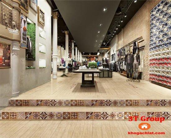 gạch giả gỗ 15x80 880 phối cảnh shop thời trang