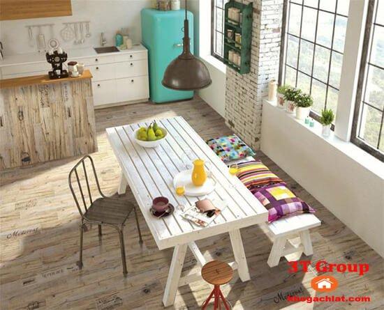 gạch giả gỗ 15x80 8813 phối cảnh phòng bếp