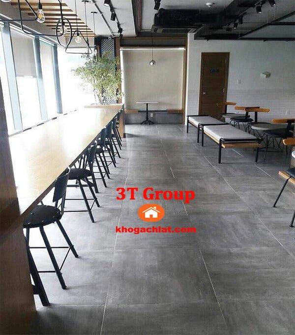 gạch vân bê tông, gạch vân xi măng 60x60 mã 6608 phối cảnh showroom, nhà hàng