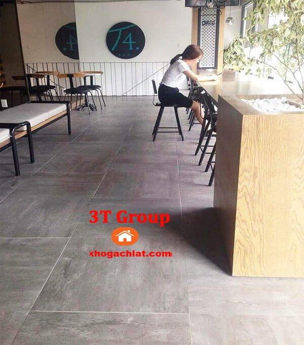 gạch vân bê tông, gạch vân xi măng 60x60 mã 6608 phối cảnh quán cafe