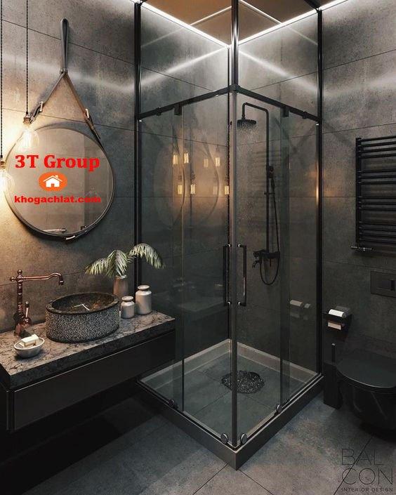 Ốp tường phòng tắm đẹp nhất bằng gạch 30x60 vân xi măng