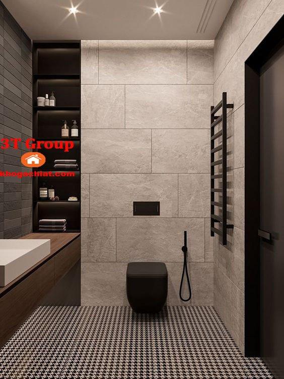Ốp tường phòng vệ sinh bằng gạch 30x60 men khô đồng chất