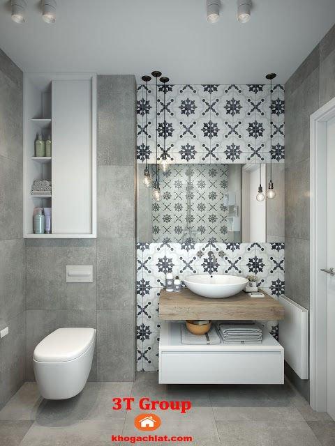 Ốp tường vệ sinh bằng gạch bông 60x60 kết hợp gạch 60x60 vân xi măng