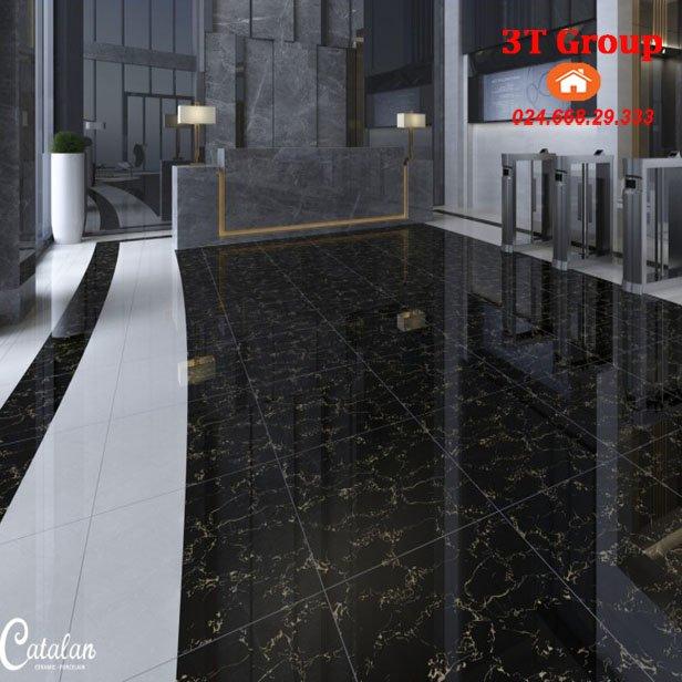 Gạch 60x60 Catalan 6651 màu đen bản thiết kế
