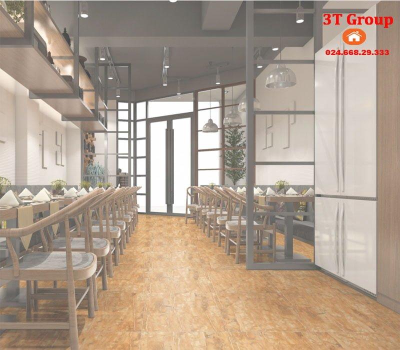 Gạch 60x60 catalan nano 6969 phối cảnh lát nhà hàng